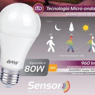 LAMPARA A60 13W FRIA C/SENSOR DE MOVIMIENTO