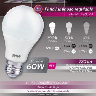 LAMPARA A60 LUZ FRIA DIMMERIZABLE CON TECLA