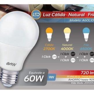 LAMPARA A60 9W FRIA/NEUTRA/CALIDA C/TECLA